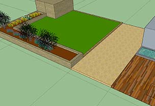 Design for garden lawn and border